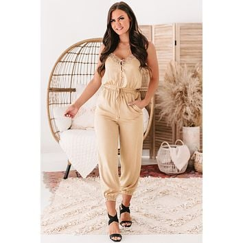 Weekend Affair Lace Trimmed Drawstring Waist Jumpsuit (Taupe)