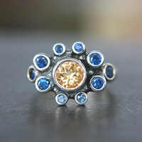 Natural Sapphire Citrine Ring Sterling Silver Citrine Sapphire Gem Ring Natural Blue Sapphire Ring Engagement Size 5,5-6 Promise Ring