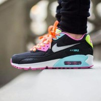 Tagre™ ONETOW Best Online Sale Nike Air Max WMNS 90 GS Fruit Loops Black Pink Running Shoes Sport Shoes 345017 063