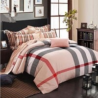 Bed Quilt Duvet Sheet Cover 4PC Set Upscale Cotton Sanded simple but elegant