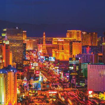 Las Vegas Skyline at Night Poster 24x36