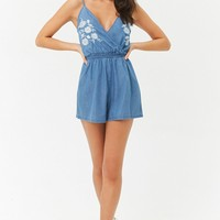 Embroidered Floral Surplice Romper