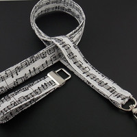 Musical Note Band Musician Musical Instrument Lanyard and ID Badge Holder with Key Fob and optional charm