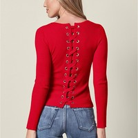 VENUS | Lace Up Detail Sweater in Red