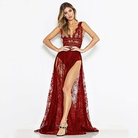 Elegant Sexy Women Sheer Lace Maxi Dress Deep V-Neck Sleeveless High Split Solid Slim Long Dresses Club Party Rave Streetwear