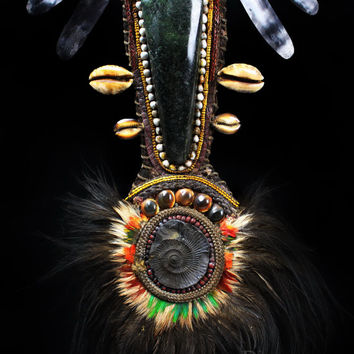 Papua New Guinea Tribal Necklace War Dance Neck/Chest Ornament Green Stone Axe Blade, Ammonite Fossil, Shell, Seed.Currency Ethnic Adornment