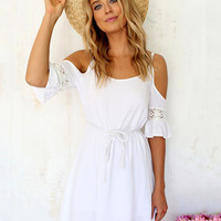 White Shoulder Cut-Out Chiffon High Waist A-Line Pleated Mini Dress