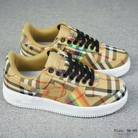 NIKE AIR FORCE 1 x BURBERRY Joint Series Classic Sneakers Rainbow Plaid Sneakers Shoes F-A-FJGJXMY