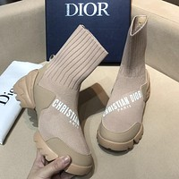 Dior personalized letter print sneakers stretch mid-top socks shoes