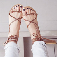 leather Brown New Summer Lace Up Sandals = 4777247812