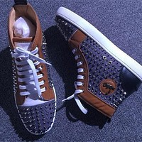 Christian Louboutin CL Louis Spikes Style #1884 Sneakers Fashion Shoes Online