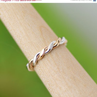 Back To School Sale Flattened Twist Ring - Stacker Ring - Thumb Ring - Gold Filled - Argentium Sterling Silver - Handmade