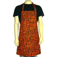Orange Flames , Fire ,  Full Kitchen Apron with Pocket