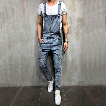 Fashion Men's Ripped Denim Suspender Pants Romper Jumpsuit