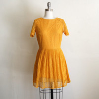 50s style mustard floral lace dress (s)