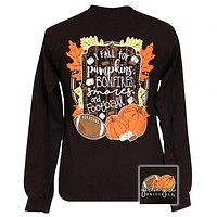 Girlie Girl Originals Fall for Pumpkins, Bonfires and Football Long Sleeve T-Shirt