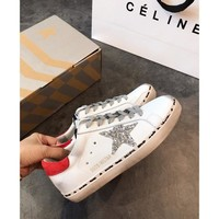 Golden Goose Ggdb Hi Star Sneakers With Glittery Star And Red Laminated Heel Tab - Best Online Sale