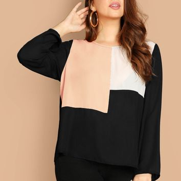 Plus Size Keyhole Back Color Block Top