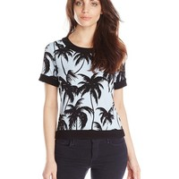 Vince Camuto Women's Short-Sleeve Palm Horizon Crop Top with Solid Trim