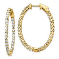14k Yellow Gold Real Diamond Oval Hoop w/Safety Clasp Earrings