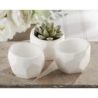 """Modern Garden"" Geometric White Planter (Set of 4) - Walmart.com"