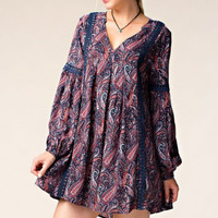 Lace Trim Purple Print Shift Dress