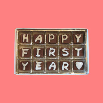 Happy First Year Cubic Chocolate Letters Funny Romantic 1 1st One Anniversary Gift for Boyfriend Girlfriend Him Her Men Woman BF GF
