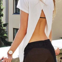 White Short Sleeve Open Back Asymmetric T-shirt