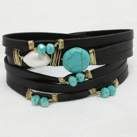 Turquoise and Black Leather Bracelet