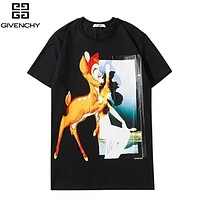 Givenchy New fashion deer print couple top t-shirt Black