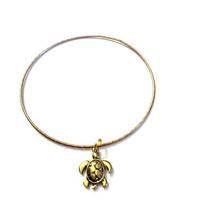 Gold Turtle Charm Alex and Ani Inspired Stackable Bangle Bracelet