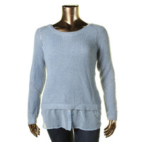 INC Womens Plus Knit Long Sleeves Pullover Sweater