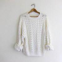 vintage slouchy knit sweater. white loose knit sweater.