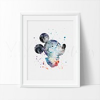 Mickey Mouse 4 Watercolor Art Print