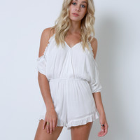Over The Moon Cold-Shoulder Romper - White