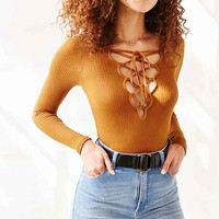 Project Social T Plunge Lace-Up Top