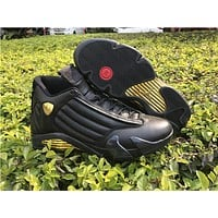 Air Jordan Retro 14 DMP Basketball Shoes Men 14s Black Gold Deigning Moments Package 98 Sneakers With Shoes Box