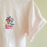 Pastel Pink Cozumel Mexico Tee Vintage Oversized M