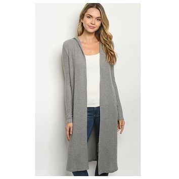 Cozy Long Grey Hooded Cardigan