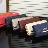 """FENDI"" Women Fashion Personality Embossed Long Section Multi-card Bit Purse Button Three Fold Wallet Clutch"