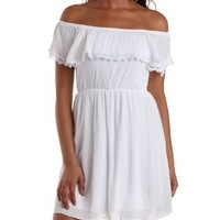 White Lace-Trim Off-the-Shoulder Flounce Dress by Charlotte Russe