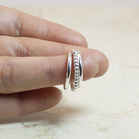 Sterling Silver Bead Stack Ring Set, Beaded Ring, Silver Bands, Stack Rings, Stackable Rings, Stacking Rings, Silver Rings, Bead Ring