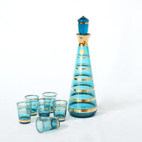 BOHEMIA CRYSTAL Decanter, 6 Liqueur Glasses, Blue Gold Glass, Made in Czechoslovakia, Mid Century Barware, Retro, Stock the Bar Gift