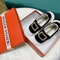 Roger Vivier Autumn and winter new leisure high rise small white shoes