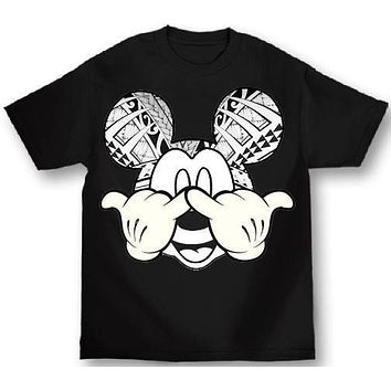 Mickey Mouse Shaka Tat, Disney Inspired Mens Black T-Shirt