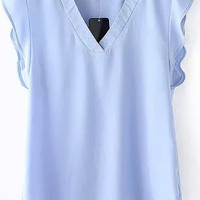 Light Blue V-Neck Ruffle Sleeveless Blouse