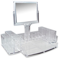 Ikee Design Luxury Cosmetic Make Up Organizer With Two-Sided Mirror | Overstock.com Shopping - The Best Deals on Makeup Cases