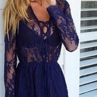 Totally Worth It Navy Blue Long Sleeve Sheer Mesh Lace Tie Neck Scallop Mini Dress