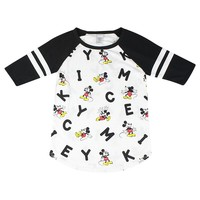 Disney Mickey Mouse Graphic And Letters Print Women's White Raglan T-shirt