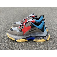 Balenciaga Triple S Clear Sole Grey/Blue/Red Trainers Oversized Multimaterial Sneakers With Air Bubble Inside The Sole